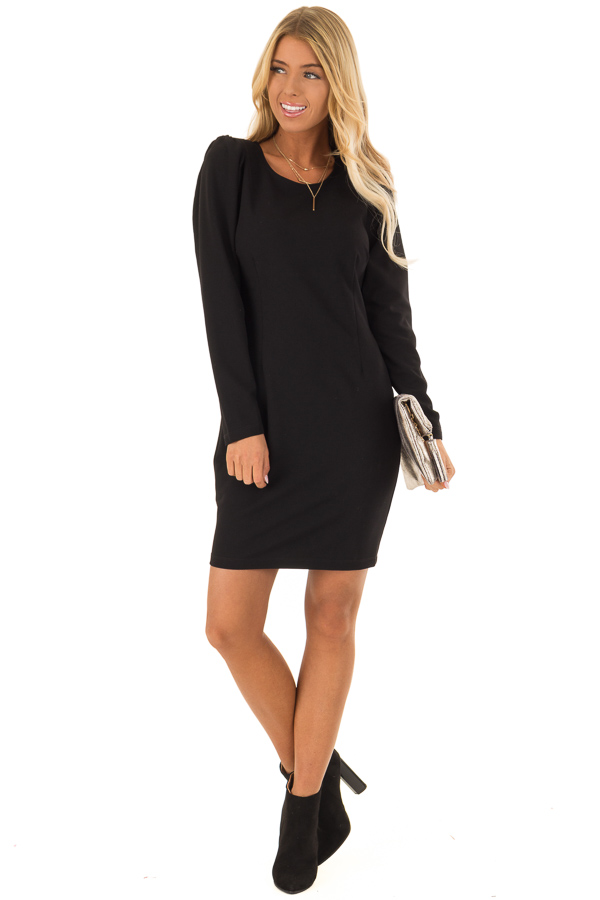 Raven Black Long Sleeves Dress with Back Zipper Closure front full body