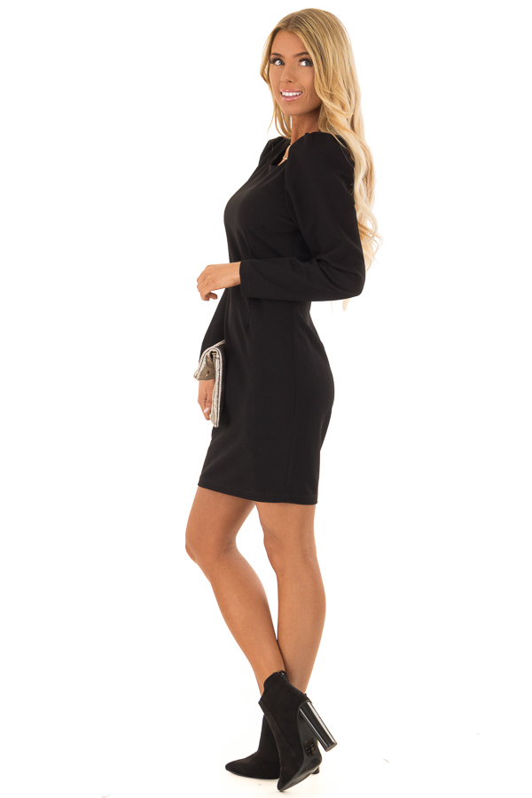 Raven Black Long Sleeves Dress with Back Zipper Closure side full body