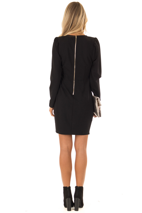 Raven Black Long Sleeves Dress with Back Zipper Closure back full body