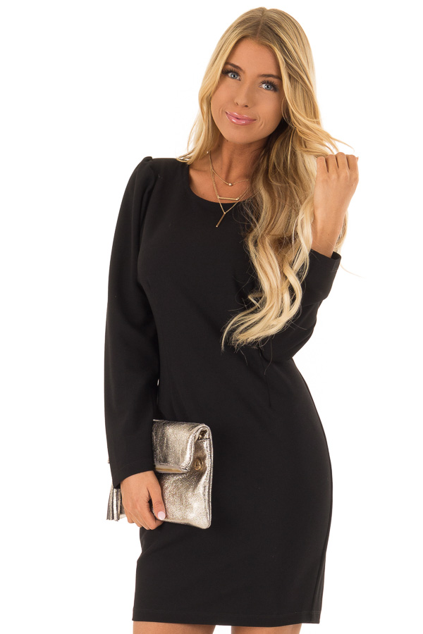 Raven Black Long Sleeves Dress with Back Zipper Closure front close up