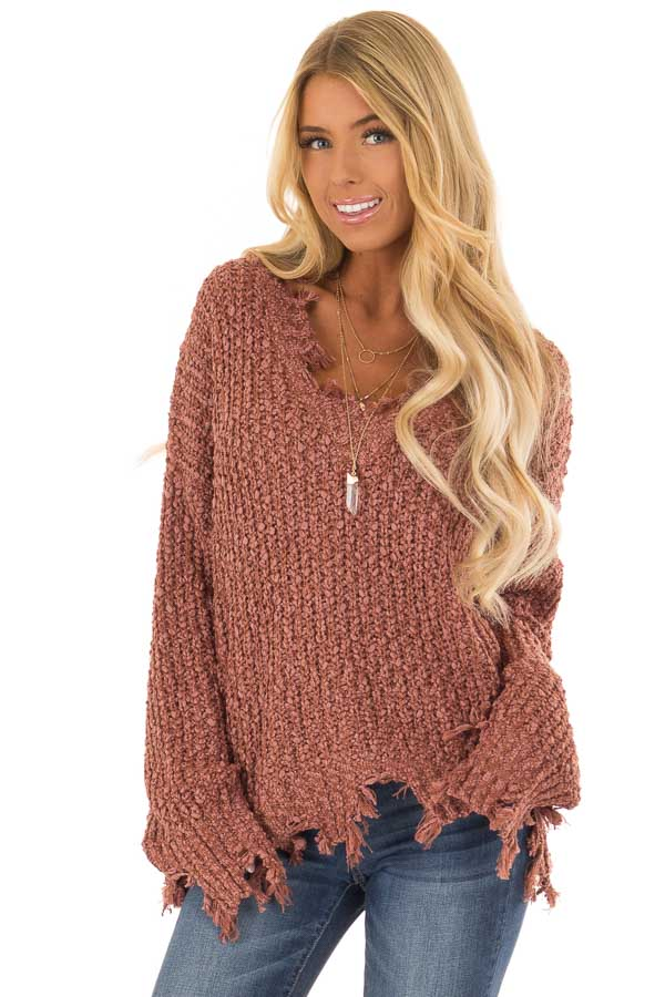 Rust Long Sleeve Popcorn Sweater With Distressed Hem