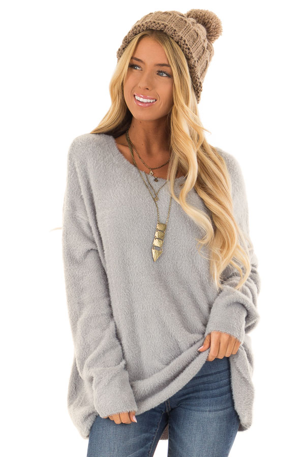 4bcaccde2bcc14 Dusty Blue Super Soft and Fuzzy Off the Shoulder Sweater - Lime Lush ...