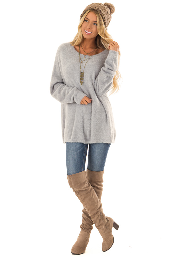 a8faeb3e78b479 ... Dusty Blue Super Soft and Fuzzy Off the Shoulder Sweater front full  body ...