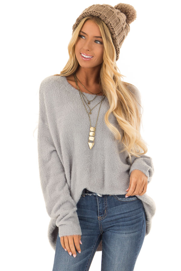 05058155a175ff ... Dusty Blue Super Soft and Fuzzy Off the Shoulder Sweater front close up  ...
