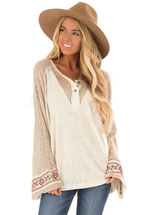 b6855449bdb3 Cream Henley Bell Sleeve Top with Floral Embroidery Detail front close up