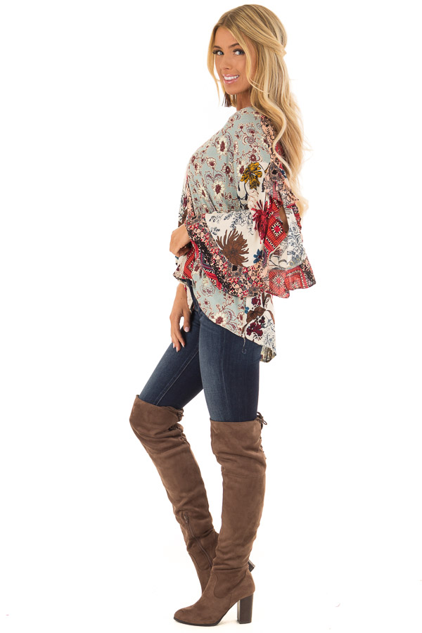 Multicolor Floral Print Surplice Top with Ruffle Detail side full body