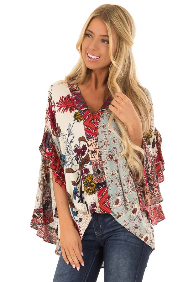 Multicolor Floral Print Surplice Top with Ruffle Detail front close up
