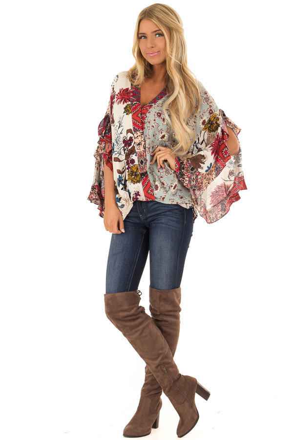 Multicolor Floral Print Surplice Top with Ruffle Detail front full body