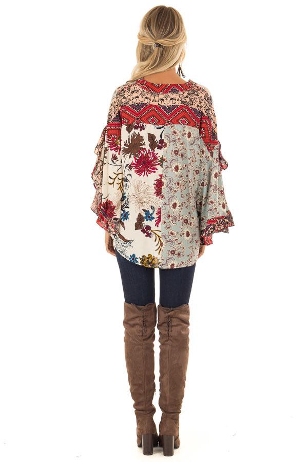 Multicolor Floral Print Surplice Top with Ruffle Detail back full body