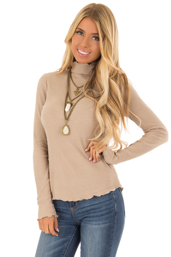 Tan Long Sleeve Ribbed Turtleneck Top with Ruffle Hemlines front close up