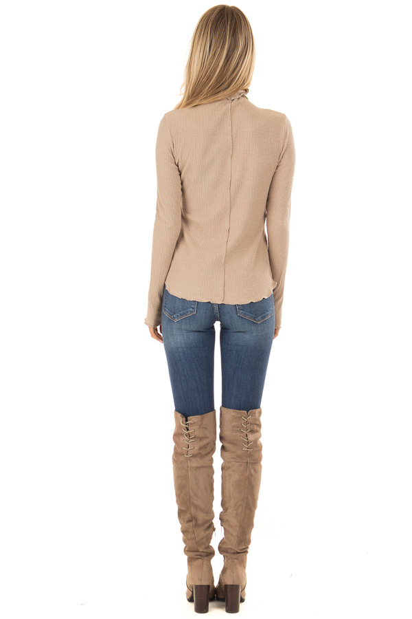 Tan Long Sleeve Ribbed Turtleneck Top with Ruffle Hemlines back full body
