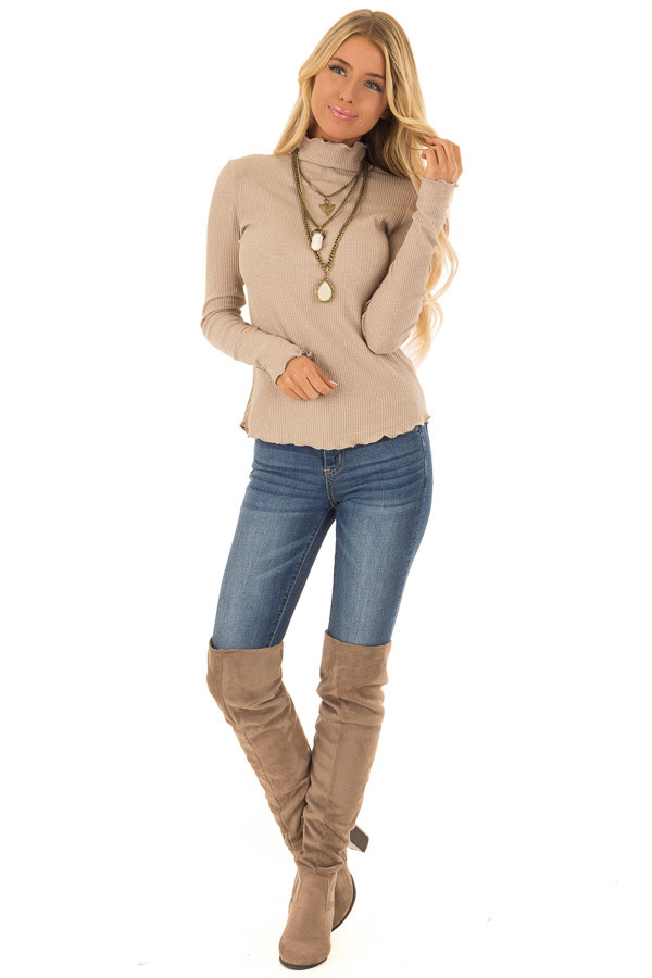 Tan Long Sleeve Ribbed Turtleneck Top with Ruffle Hemlines front full body