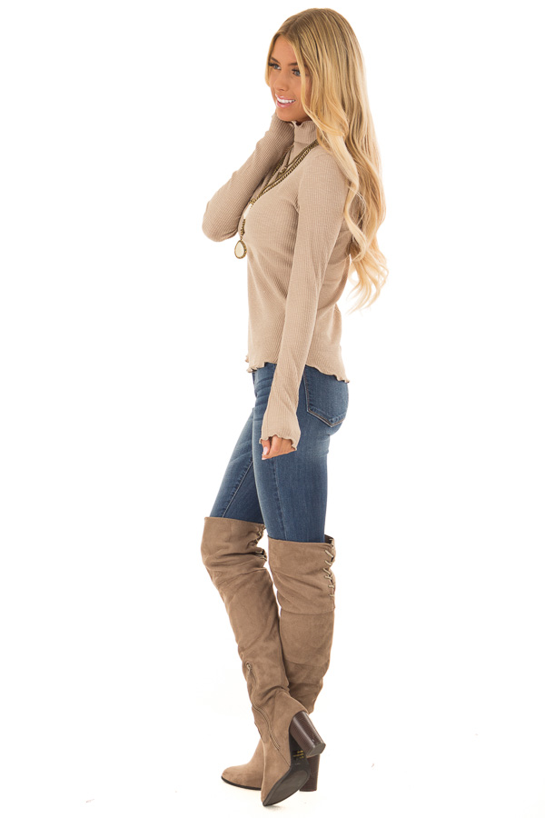 Tan Long Sleeve Ribbed Turtleneck Top with Ruffle Hemlines side full body