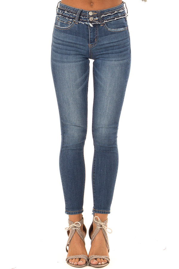 Medium Wash Mid Rise Double Button Skinny Jeans side view
