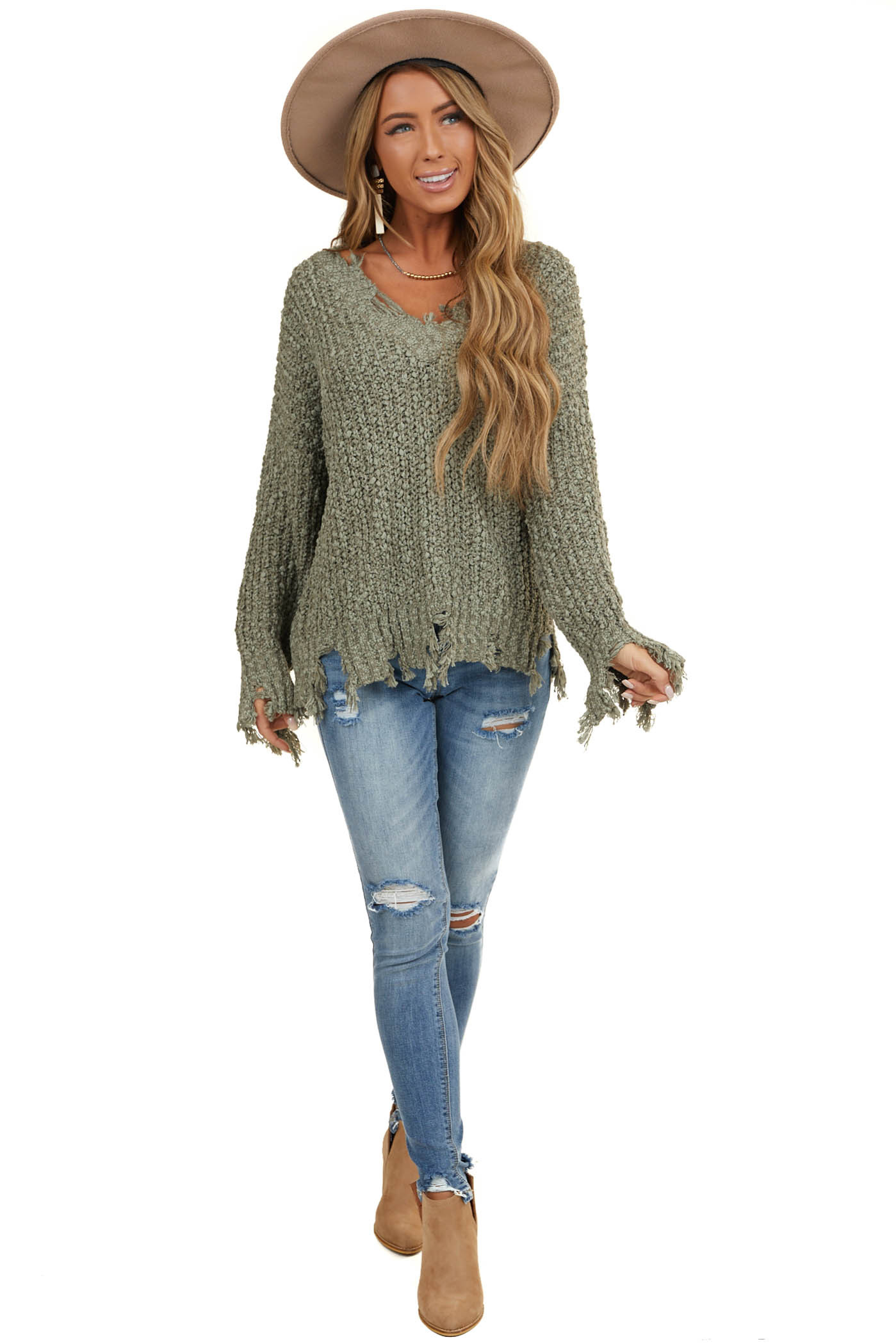 Moss Green Long Sleeve Popcorn Sweater with Distressed Hem