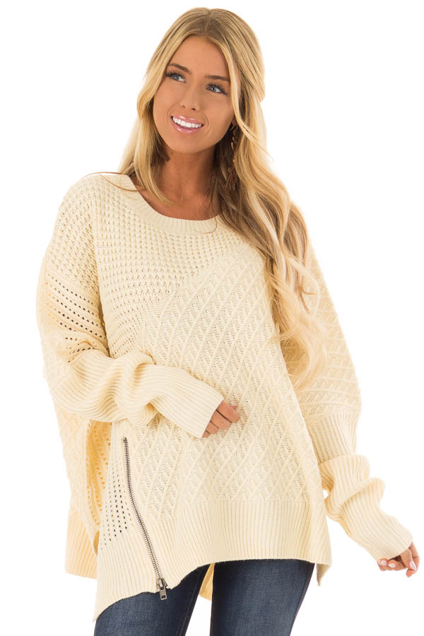 Cream Textured Sweater with Side Zipper Detail front close up