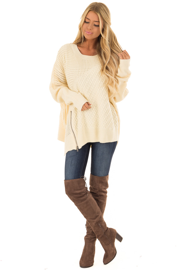 Cream Textured Sweater with Side Zipper Detail front full body