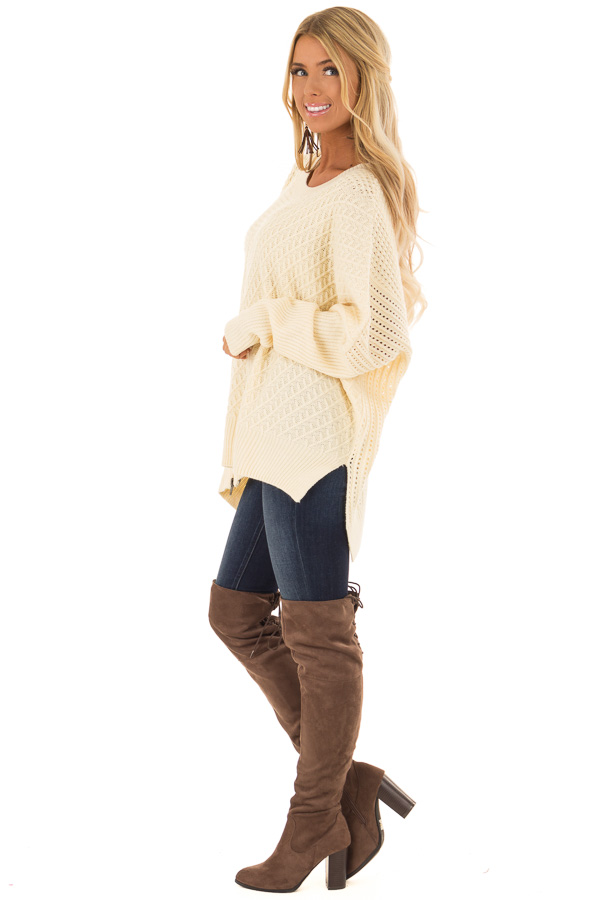 Cream Textured Sweater with Side Zipper Detail side full body