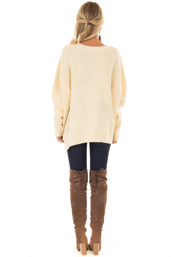 Cream Textured Sweater with Side Zipper Detail back full body