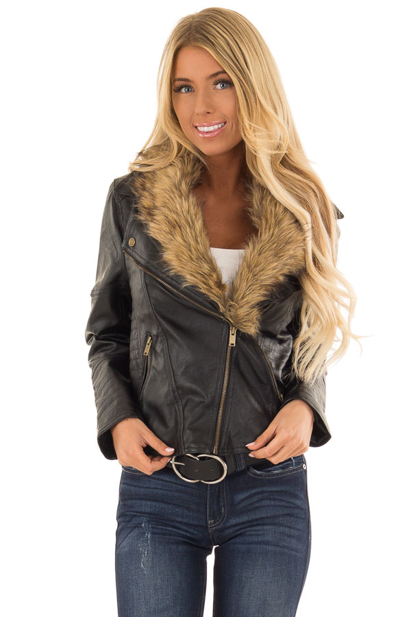 ada7a68ee16c ... Black Faux Leather Moto Jacket with Faux Fur Collar front close up ...