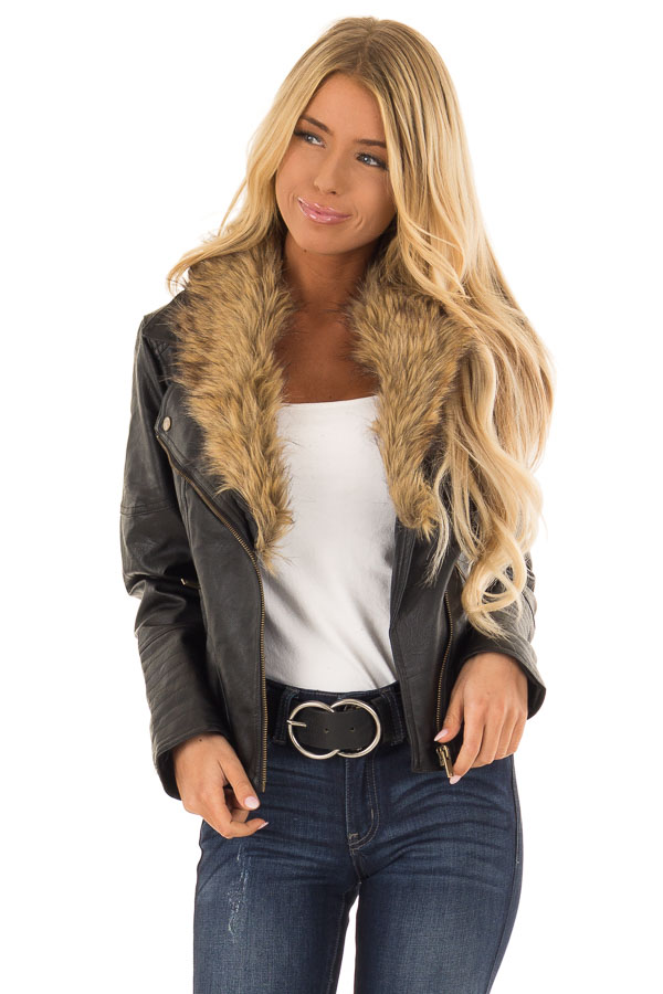 ef11cf63327 Black Faux Leather Moto Jacket with Faux Fur Collar - Lime Lush Boutique