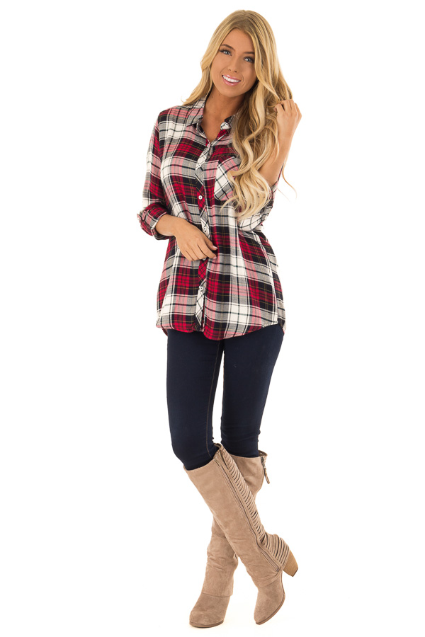 Crimson and Black Plaid Button Up Top with Chest Pocket front full body
