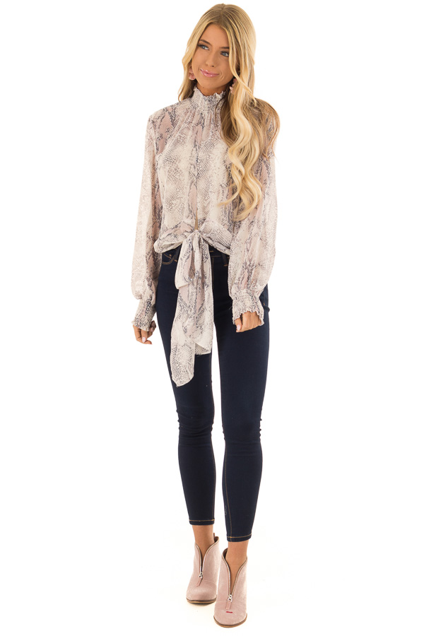 86ef49bb489f1 ... Pebble Grey and Blush Sheer Snake Print Blouse with Tie front full body  ...