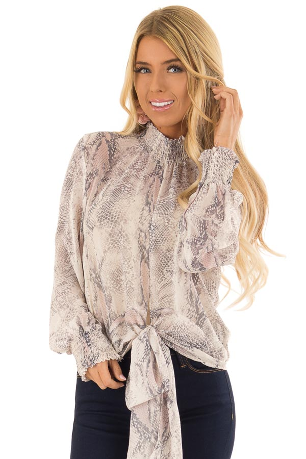 630c1861c7622 Pebble Grey and Blush Sheer Snake Print Blouse with Tie - Lime Lush ...