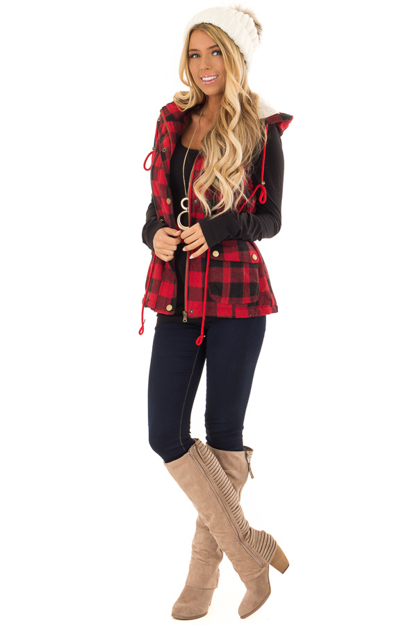 Crimson and Black Plaid Hooded Vest with Faux Fur Lining front full body