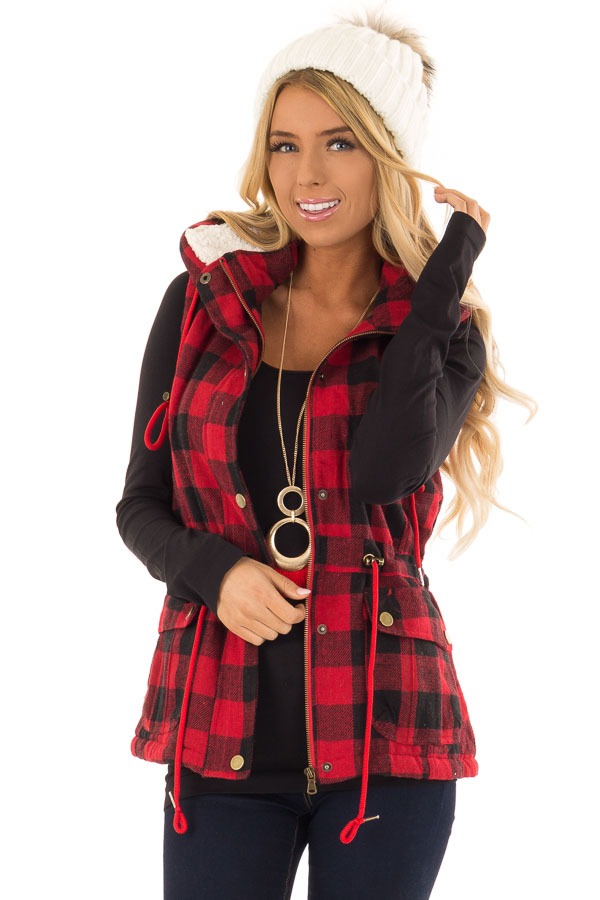 Crimson and Black Plaid Hooded Vest with Faux Fur Lining front close up