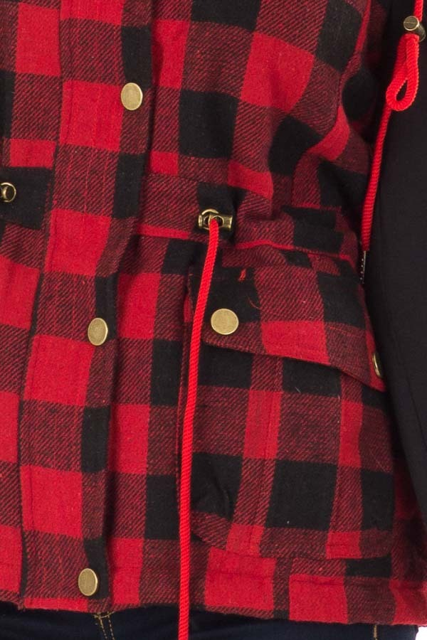 Crimson and Black Plaid Hooded Vest with Faux Fur Lining detail