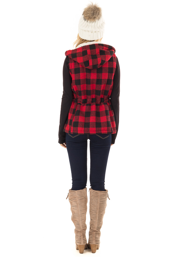 Crimson and Black Plaid Hooded Vest with Faux Fur Lining back full body