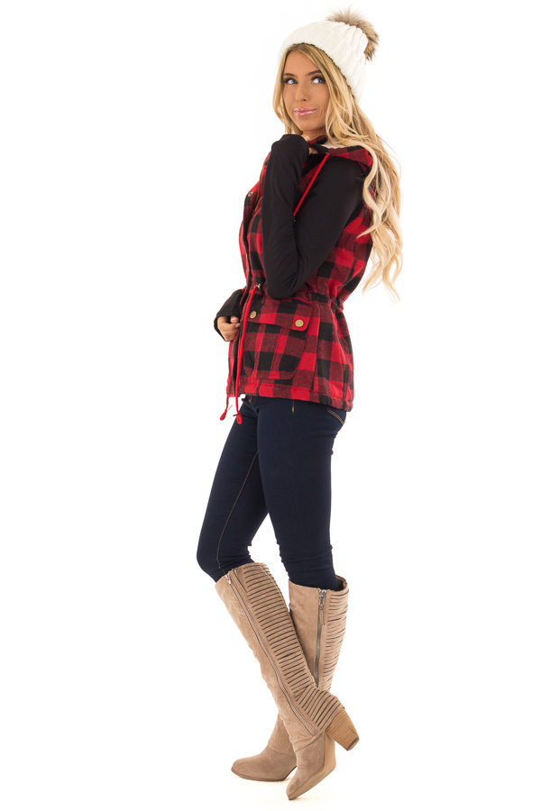 Crimson and Black Plaid Hooded Vest with Faux Fur Lining side full body