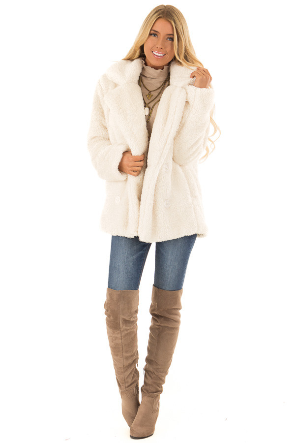 Ivory Oversized Faux Fur Coat with Pockets front full body