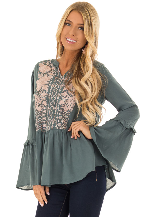 Dusty Teal Embroidered Peplum Top with Long Bell Sleeves front close up