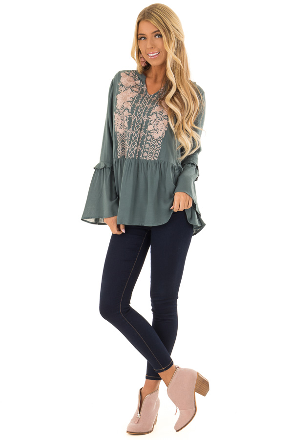 Dusty Teal Embroidered Peplum Top with Long Bell Sleeves front full body