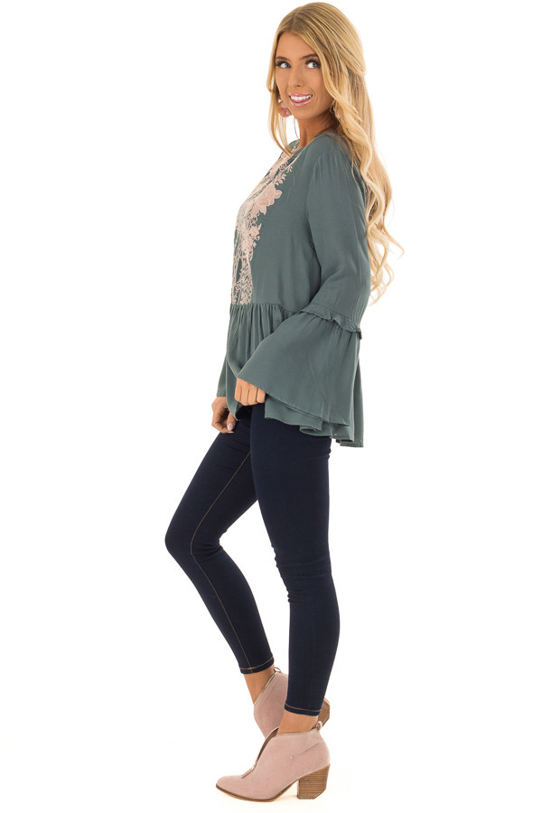 Dusty Teal Embroidered Peplum Top with Long Bell Sleeves side full body