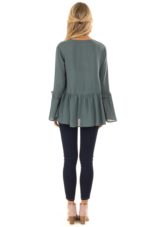 Dusty Teal Embroidered Peplum Top with Long Bell Sleeves back full body
