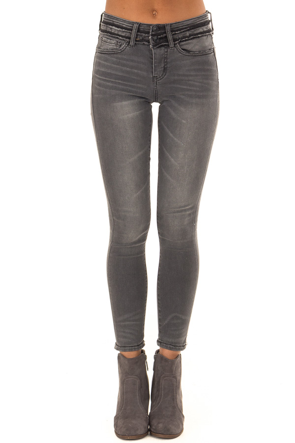 Charcoal Mid Rise Skinny Jeans with Double Button front view