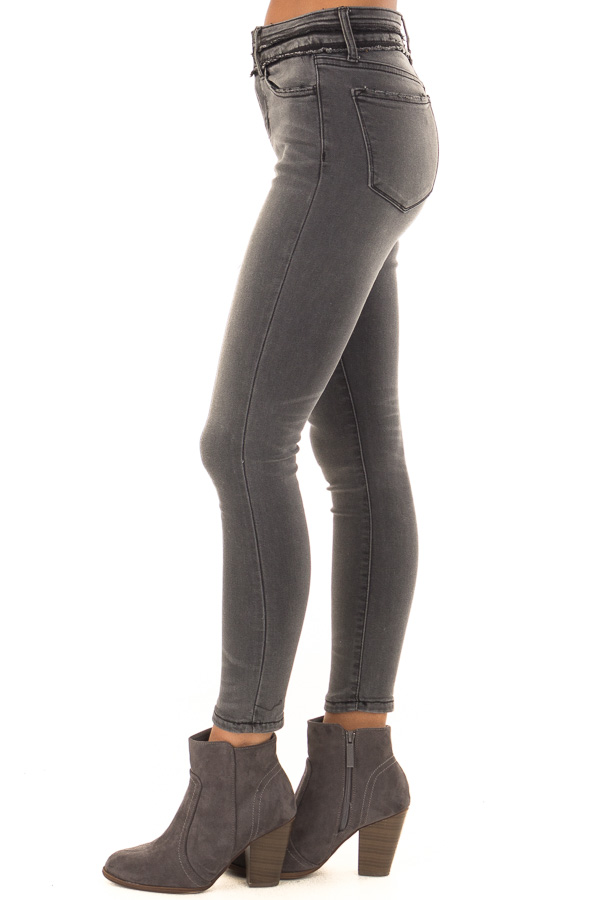 Charcoal Mid Rise Skinny Jeans with Double Button side view