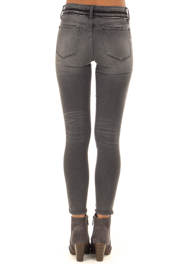 Charcoal Mid Rise Skinny Jeans with Double Button back view
