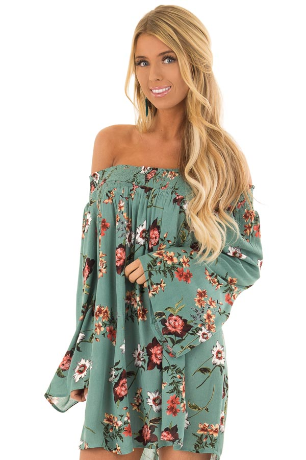 29fd3c03fbd Teal Floral Print Crossover Off the Shoulder Tunic Top - Lime Lush ...