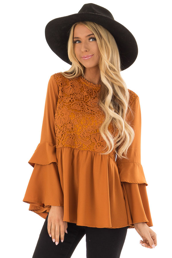 ead263442b2c3 Toffee Layered Bell Sleeve Top with Lace Detail - Lime Lush Boutique