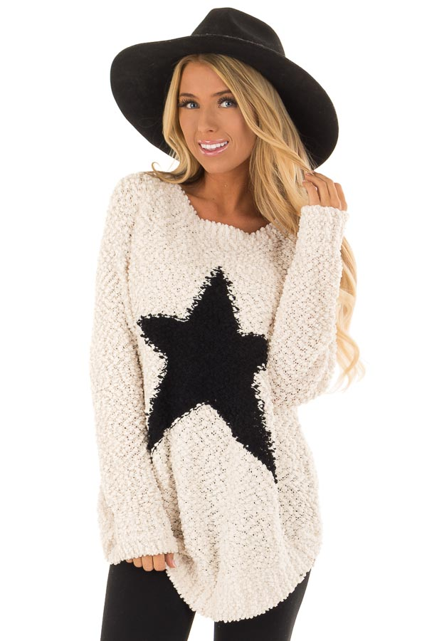 Cream Comfy Popcorn Knit Sweater With Star Detail - Lime Lush Boutique f6e2fbe4de12
