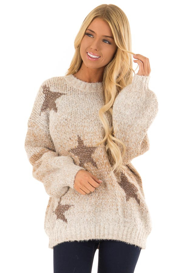 Taupe and Bronze Ombre Long Sleeve Star Sweater front close up