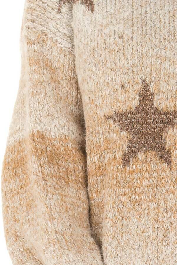 Taupe and Bronze Ombre Long Sleeve Star Sweater detail