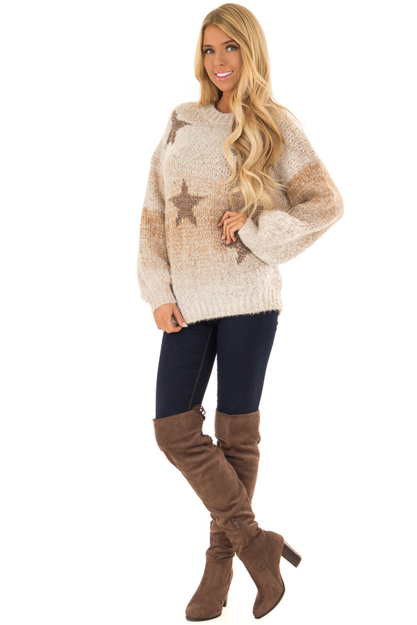 Taupe and Bronze Ombre Long Sleeve Star Sweater front full body