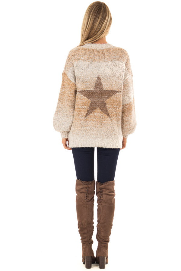 Taupe and Bronze Ombre Long Sleeve Star Sweater back full body