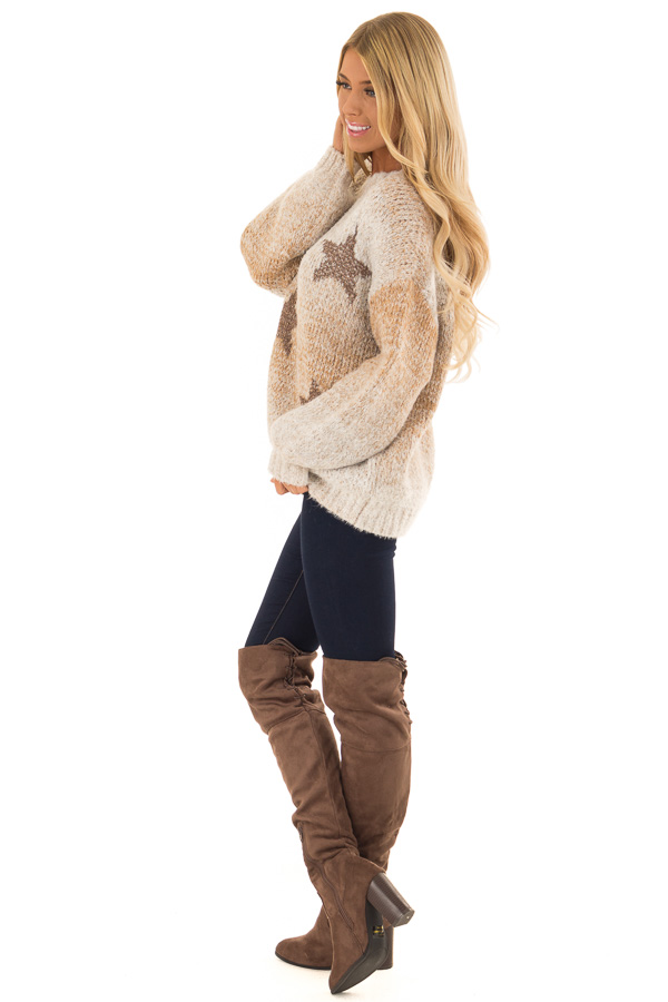 Taupe and Bronze Ombre Long Sleeve Star Sweater side full body