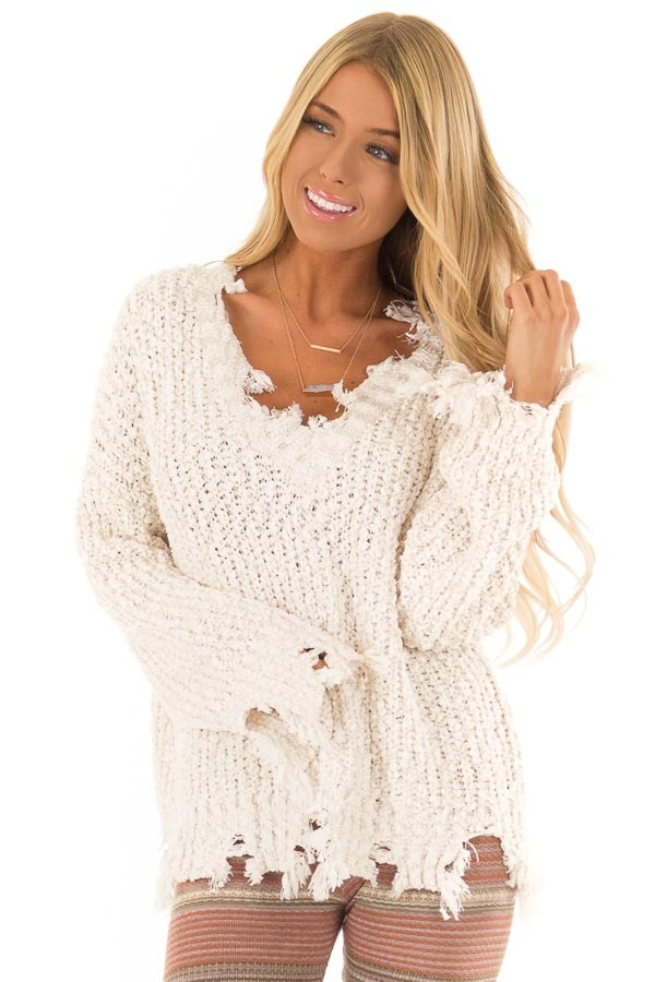 Ivory Long Sleeve Popcorn Sweater With Distressed Hem